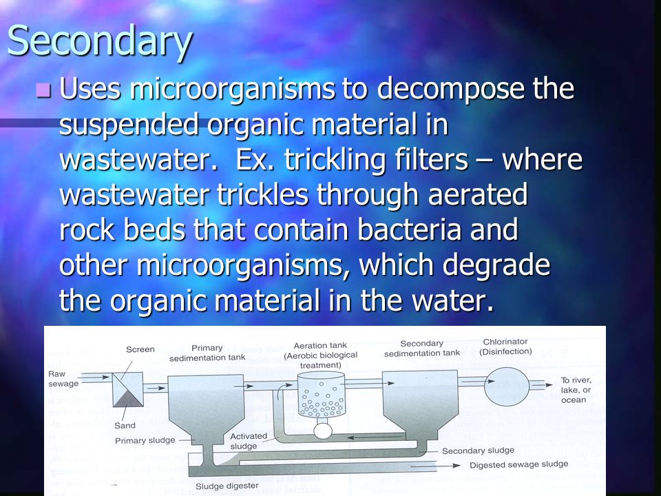 Secondary Uses microorganisms to decompose the suspended organic material in wastewater. Ex. trickling filters – where wastewater trickles through aer