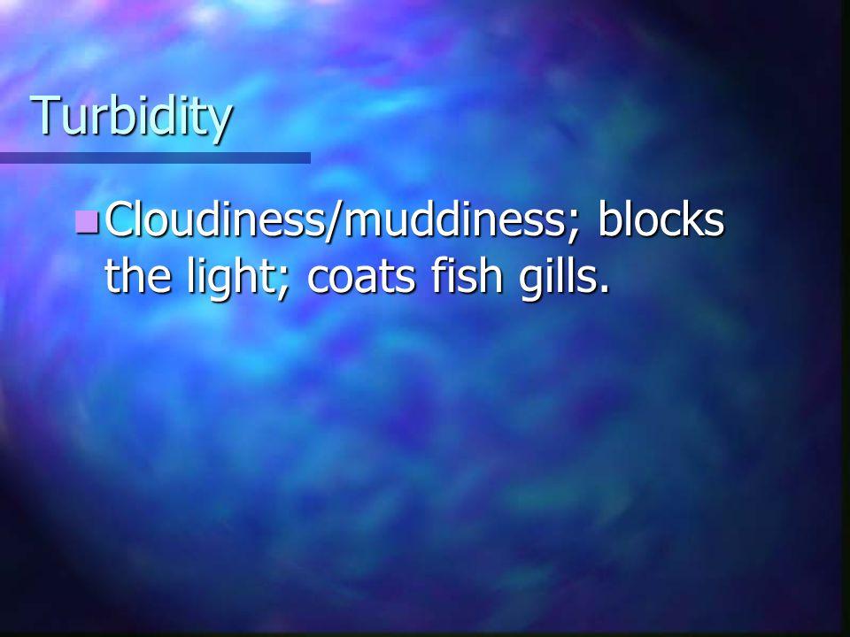 Turbidity Cloudiness/muddiness; blocks the light; coats fish gills. Cloudiness/muddiness; blocks the light; coats fish gills.