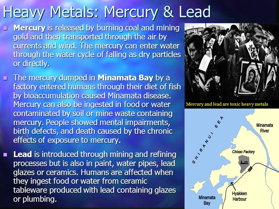 Mercury and lead are toxic heavy metals Mercury is released by burning coal and mining gold and then transported through the air by currents and wind.