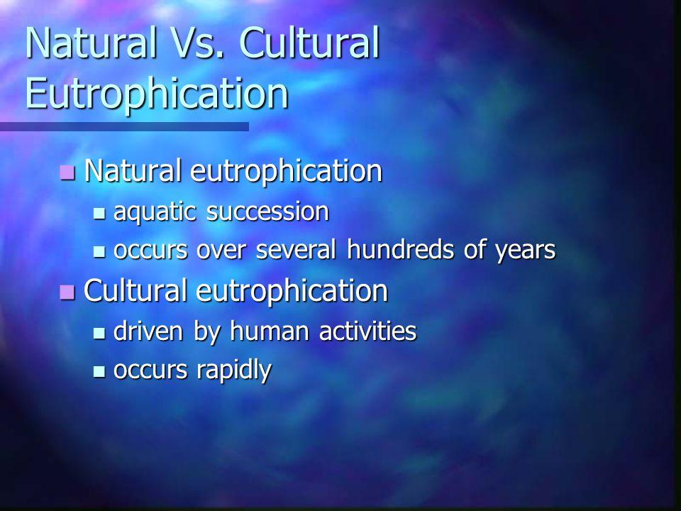 Natural Vs. Cultural Eutrophication Natural eutrophication Natural eutrophication aquatic succession aquatic succession occurs over several hundreds o