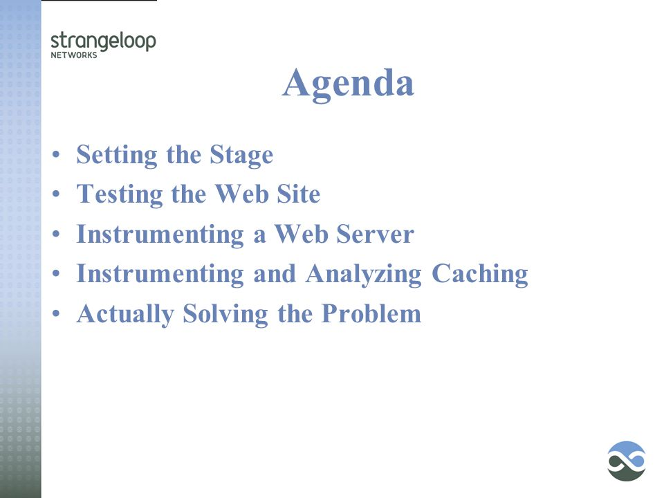 Agenda Setting the Stage Testing the Web Site Instrumenting a Web Server Instrumenting and Analyzing Caching Actually Solving the Problem