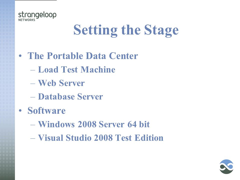 Setting the Stage The Portable Data Center –Load Test Machine –Web Server –Database Server Software –Windows 2008 Server 64 bit –Visual Studio 2008 Test Edition