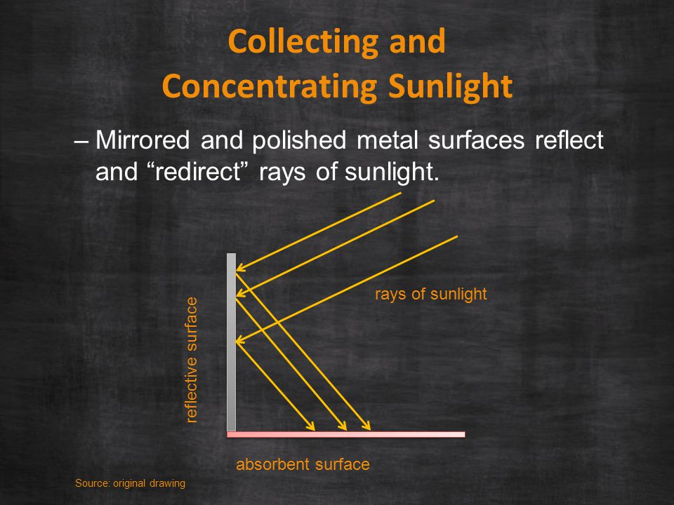 Collecting and Concentrating Sunlight –Mirrored and polished metal surfaces reflect and redirect rays of sunlight.