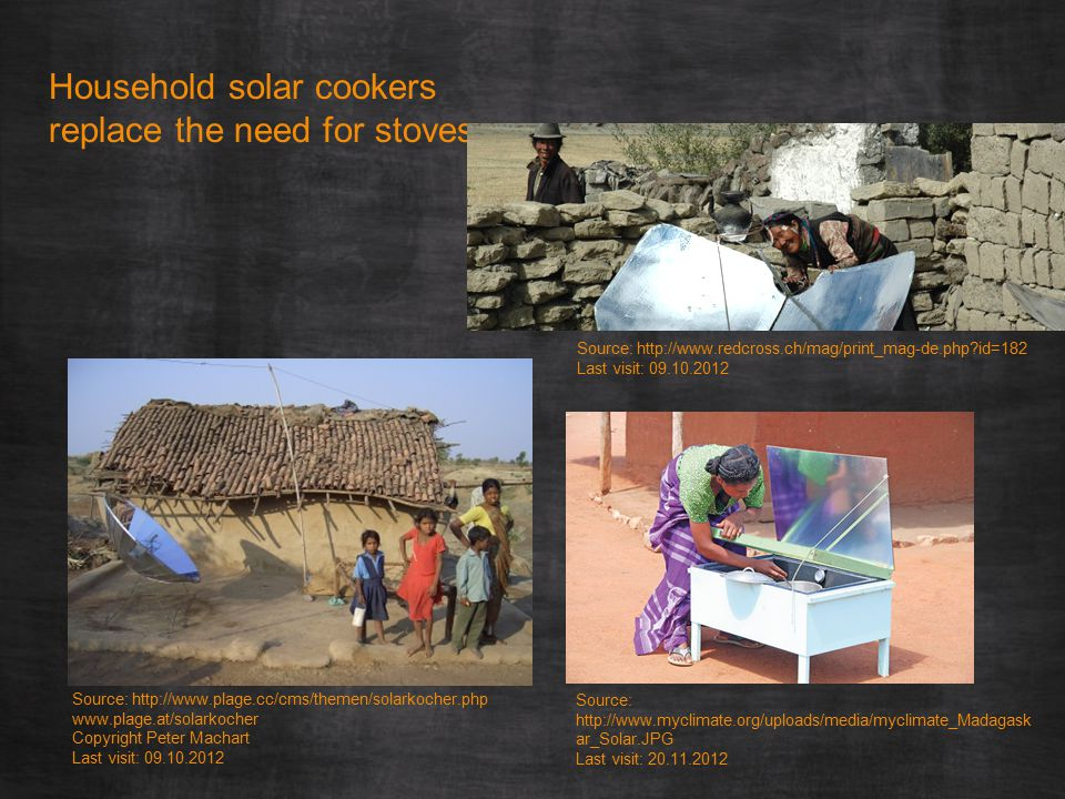 Household solar cookers replace the need for stoves Source: http://www.plage.cc/cms/themen/solarkocher.php www.plage.at/solarkocher Copyright Peter Machart Last visit: 09.10.2012 Source: http://www.redcross.ch/mag/print_mag-de.php?id=182 Last visit: 09.10.2012 Source: http://www.myclimate.org/uploads/media/myclimate_Madagask ar_Solar.JPG Last visit: 20.11.2012