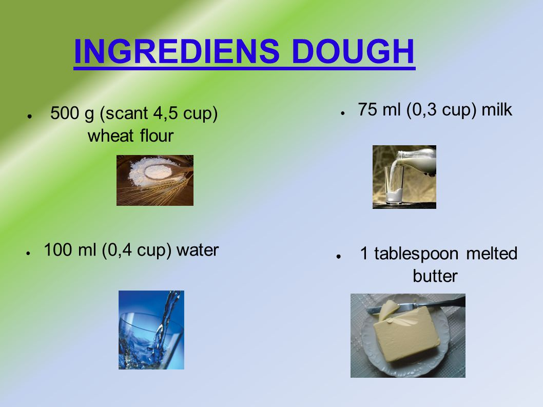 INGREDIENS DOUGH ● 500 g (scant 4,5 cup) wheat flour ● 75 ml (0,3 cup) milk ● 1 tablespoon melted butter ● 100 ml (0,4 cup) water