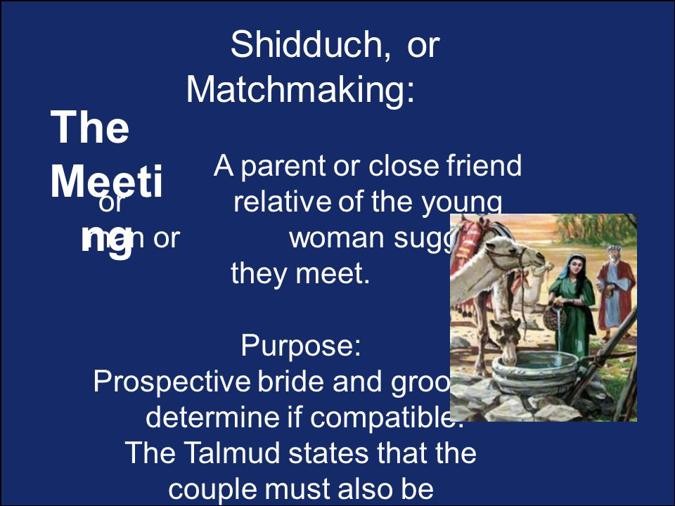 Shidduch, or Matchmaking: A parent or close friend or relative of the young man or woman suggests they meet.