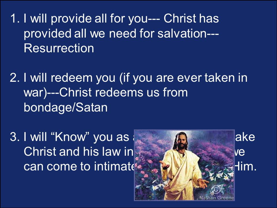 1. I will provide all for you--- Christ has provided all we need for salvation--- Resurrection 2.