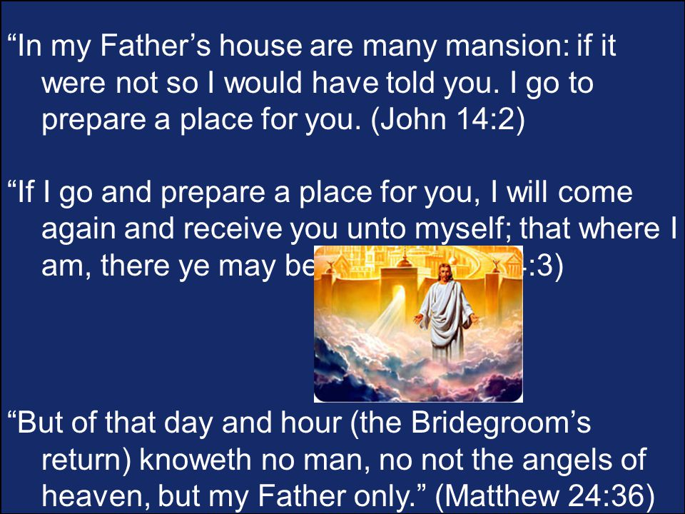 In my Father's house are many mansion: if it were not so I would have told you.