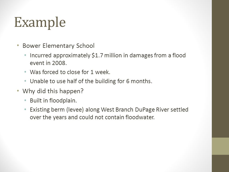 Example Bower Elementary School Incurred approximately $1.7 million in damages from a flood event in 2008.