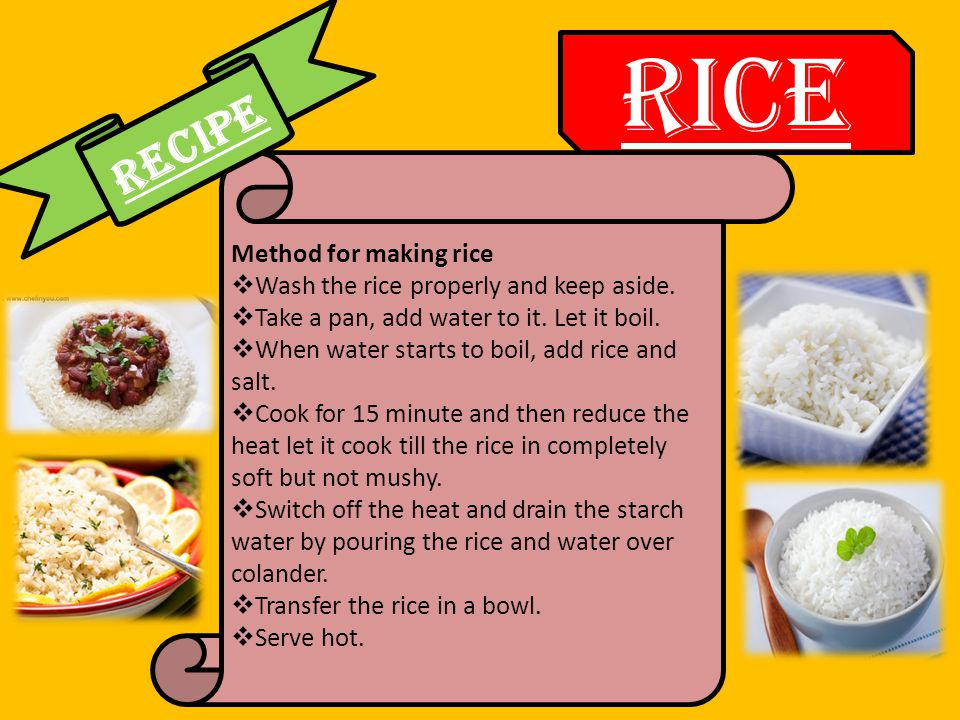Method for making rice  Wash the rice properly and keep aside.