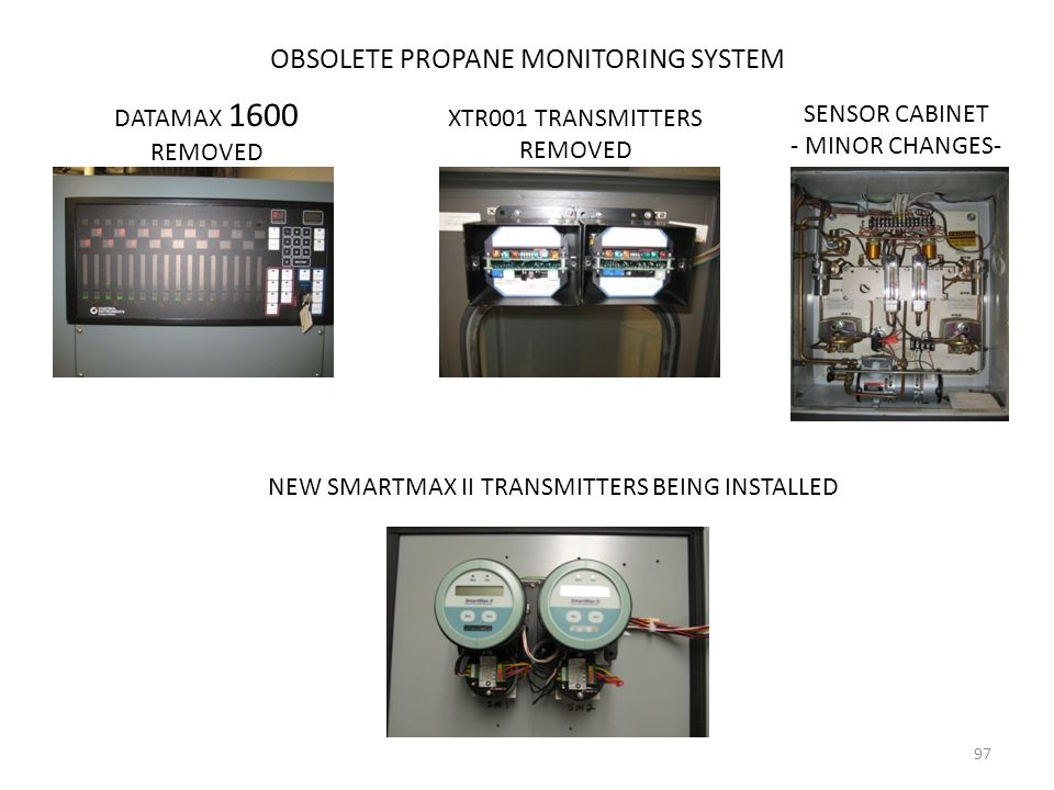 OBSOLETE PROPANE MONITORING SYSTEM DATAMAX 1600 REMOVED XTR001 TRANSMITTERS REMOVED SENSOR CABINET - MINOR CHANGES- NEW SMARTMAX II TRANSMITTERS BEING
