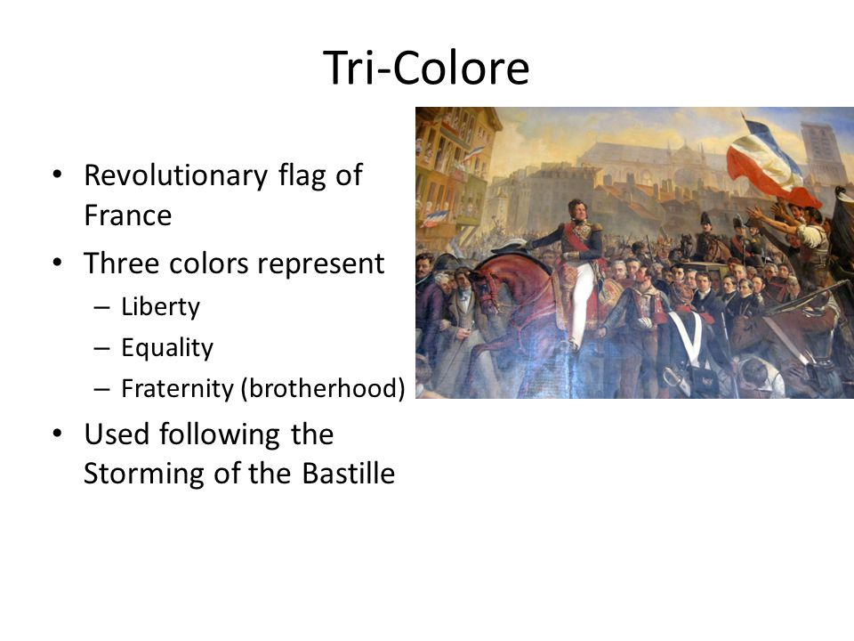 Tri-Colore Revolutionary flag of France Three colors represent – Liberty – Equality – Fraternity (brotherhood) Used following the Storming of the Bast