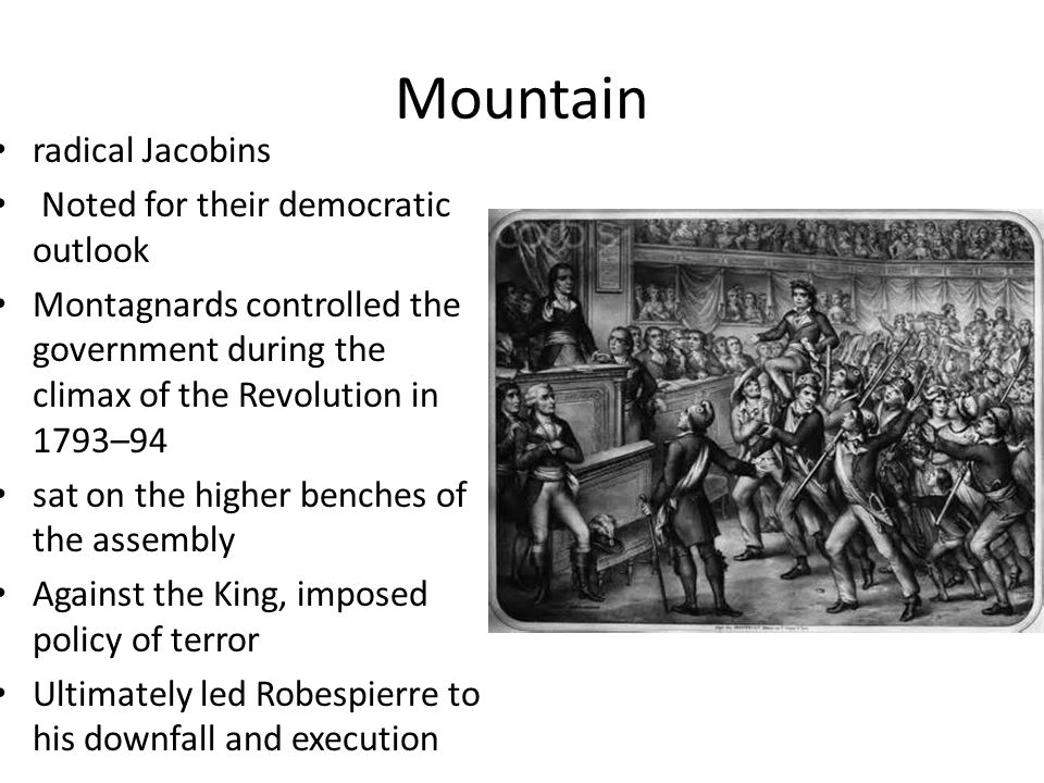 Mountain radical Jacobins Noted for their democratic outlook Montagnards controlled the government during the climax of the Revolution in 1793–94 sat on the higher benches of the assembly Against the King, imposed policy of terror Ultimately led Robespierre to his downfall and execution