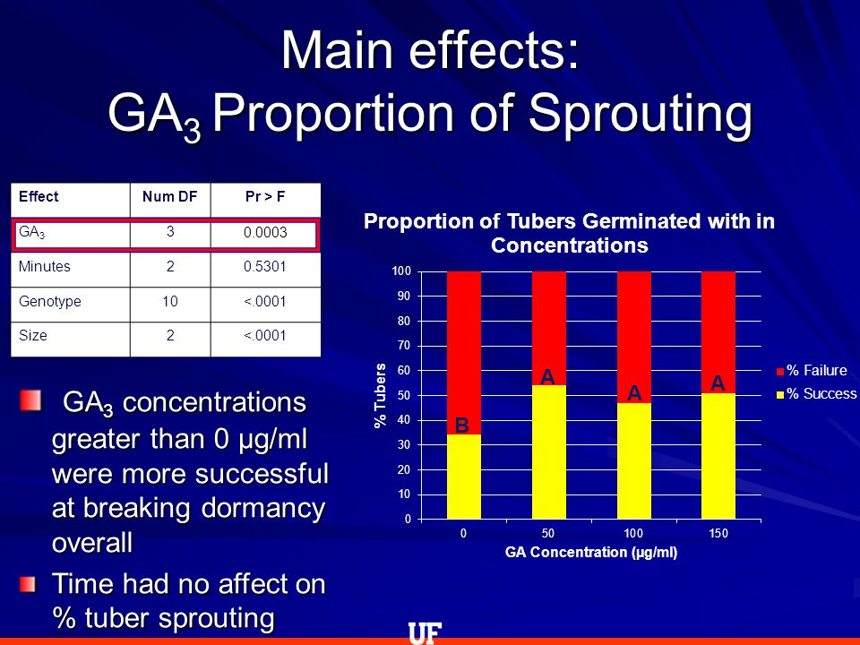 Main effects: GA 3 Proportion of Sprouting EffectNum DFPr > F GA 3 3 0.0003 Minutes20.5301 Genotype10<.0001 Size2<.0001 B A A A GA 3 concentrations greater than 0 µg/ml were more successful at breaking dormancy overall GA 3 concentrations greater than 0 µg/ml were more successful at breaking dormancy overall Time had no affect on % tuber sprouting