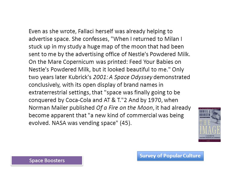 Space Boosters Even as she wrote, Fallaci herself was already helping to advertise space.