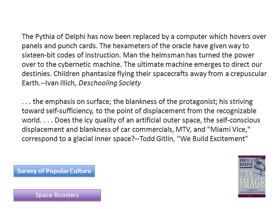 The Pythia of Delphi has now been replaced by a computer which hovers over panels and punch cards.