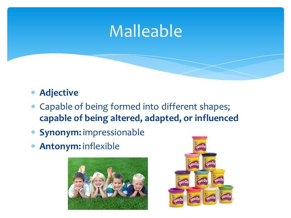  Adjective  Capable of being formed into different shapes; capable of being altered, adapted, or influenced  Synonym: impressionable  Antonym: inf