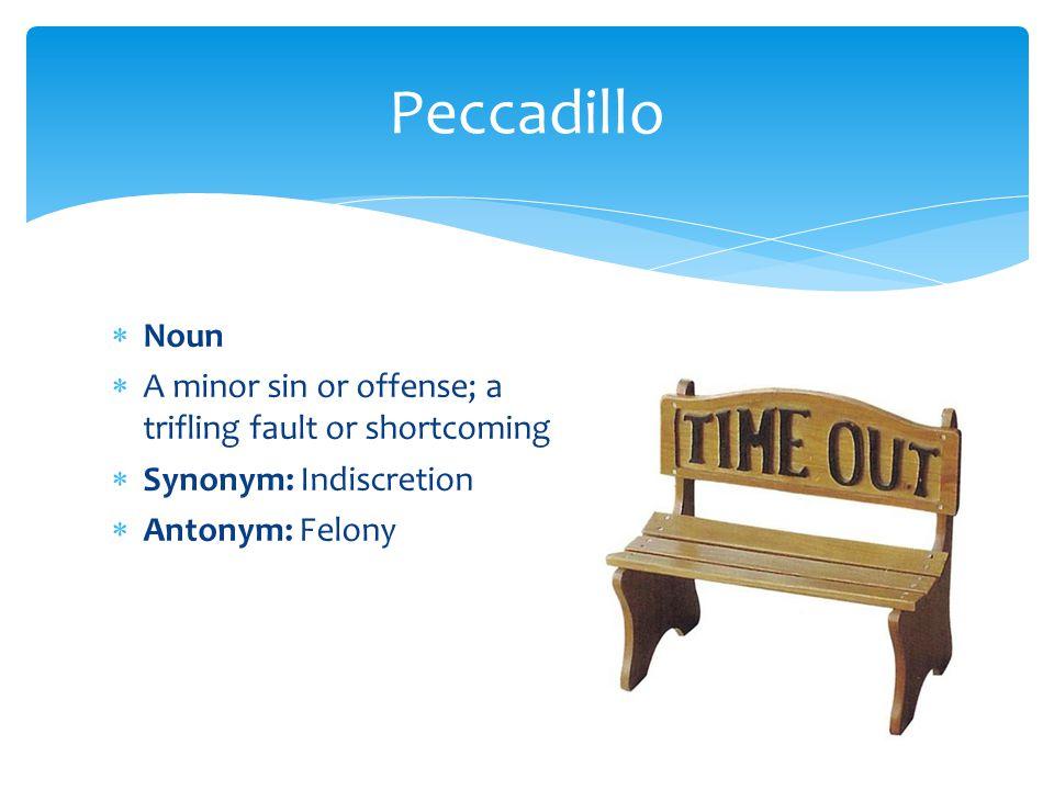  Noun  A minor sin or offense; a trifling fault or shortcoming  Synonym: Indiscretion  Antonym: Felony Peccadillo