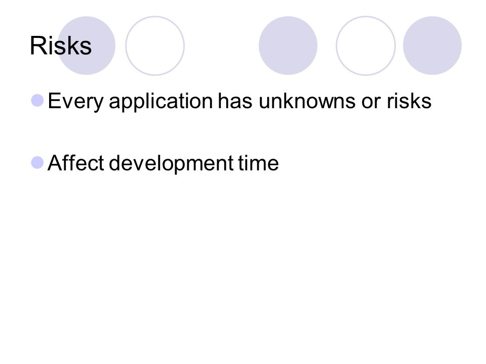 Risks Every application has unknowns or risks Affect development time