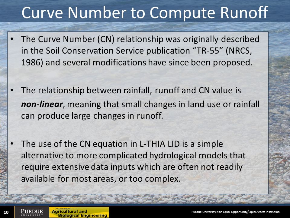 Curve Number to Compute Runoff The Curve Number (CN) relationship was originally described in the Soil Conservation Service publication TR-55 (NRCS, 1986) and several modifications have since been proposed.