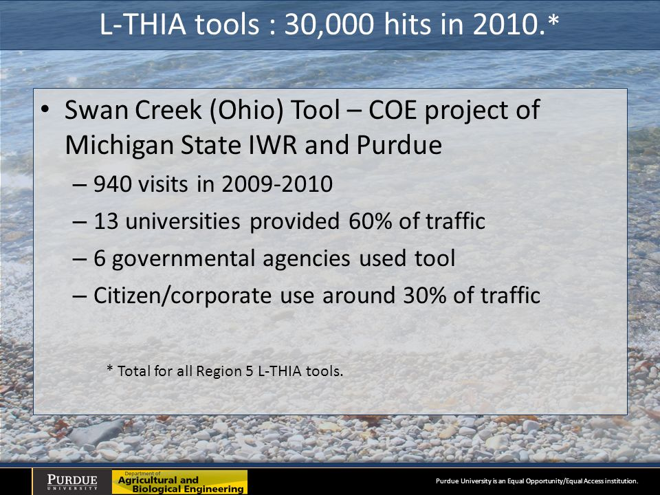 L-THIA tools : 30,000 hits in 2010.