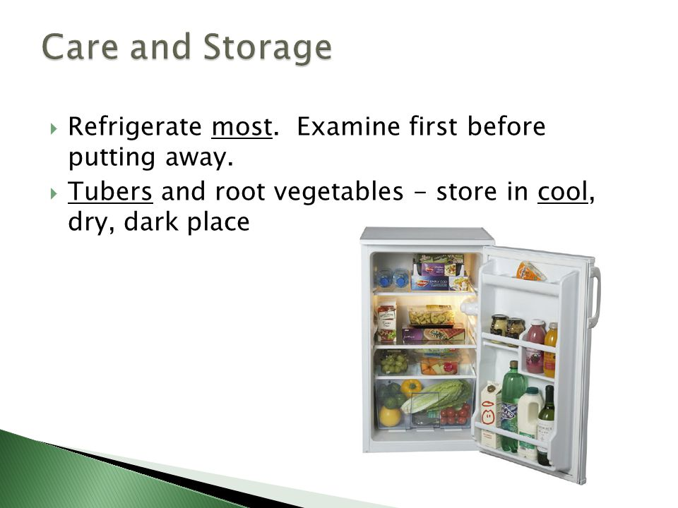  Refrigerate most.Examine first before putting away.