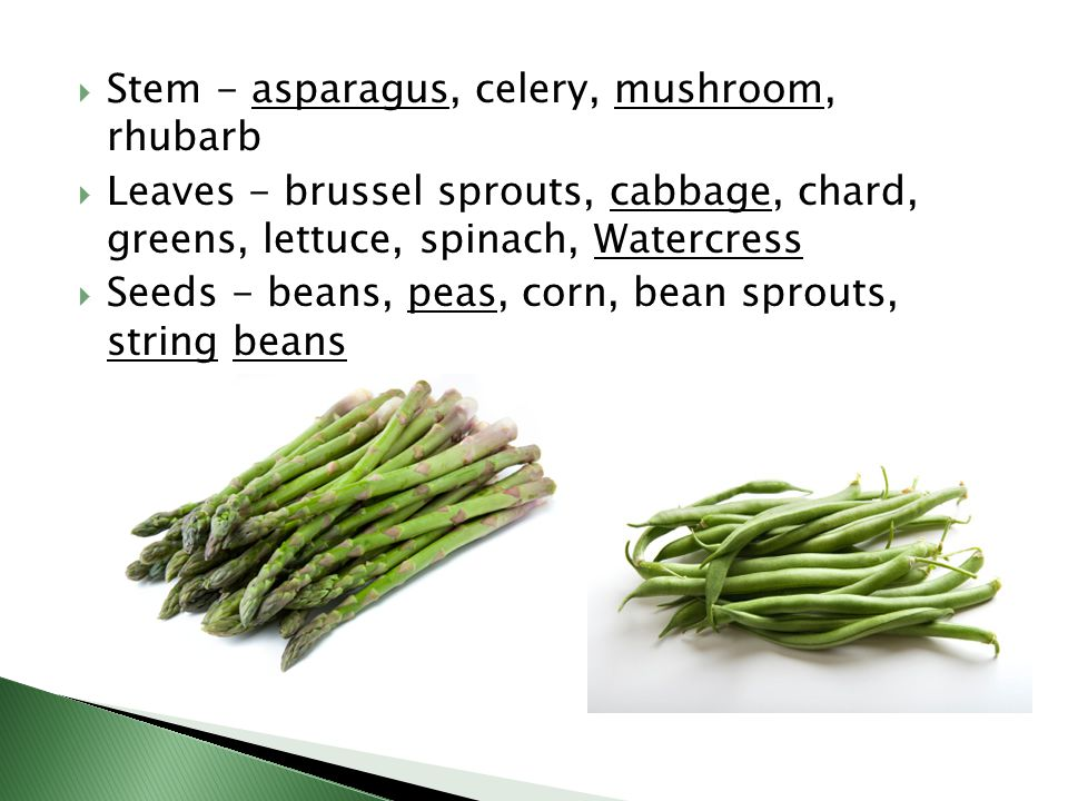  Stem - asparagus, celery, mushroom, rhubarb  Leaves - brussel sprouts, cabbage, chard, greens, lettuce, spinach, Watercress  Seeds - beans, peas, corn, bean sprouts, string beans