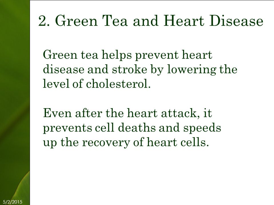 5/2/2015 Free Template from www.brainybetty.com 4 Green tea helps prevent heart disease and stroke by lowering the level of cholesterol.