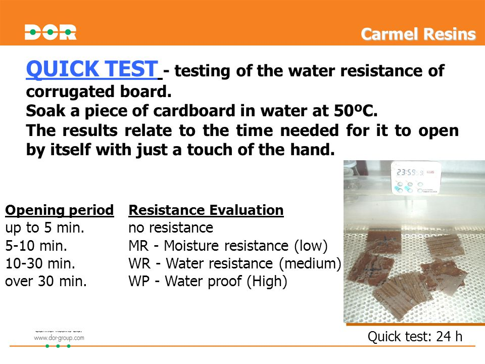 QUICK TEST - testing of the water resistance of corrugated board.