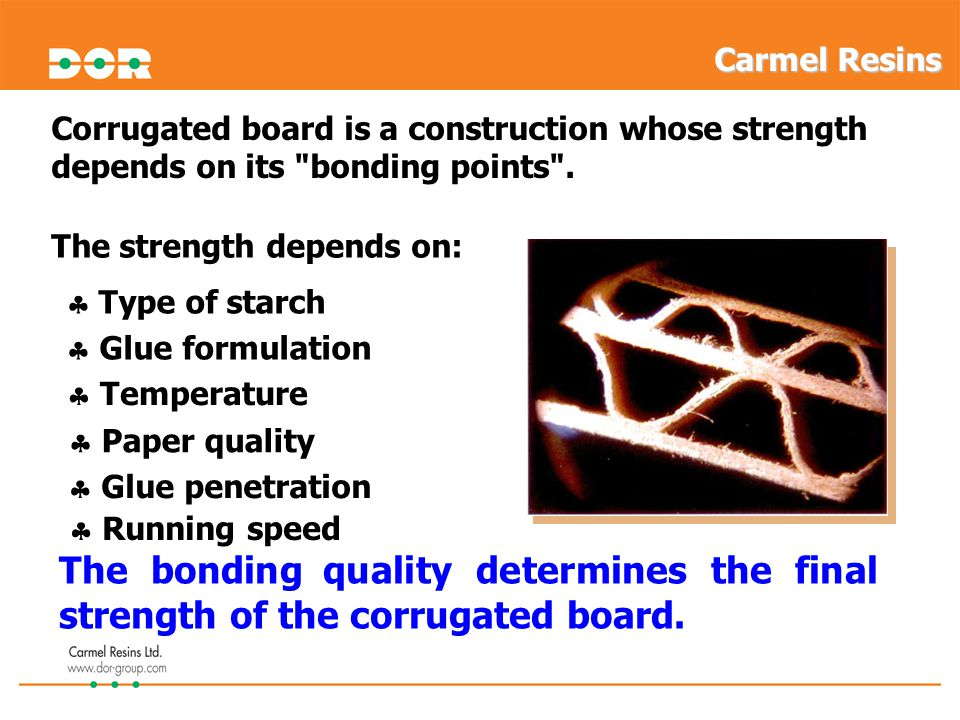 Corrugated board is a construction whose strength depends on its bonding points .