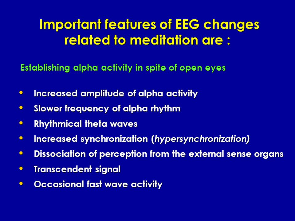 ALPHA brainwaves are the brainwaves of relaxed detached awareness, visualization, sensory imagery and light reverie. Ranging between about 8 cycles pe