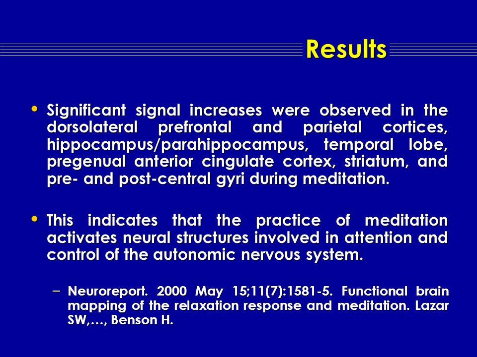 fMRI changes during Meditation
