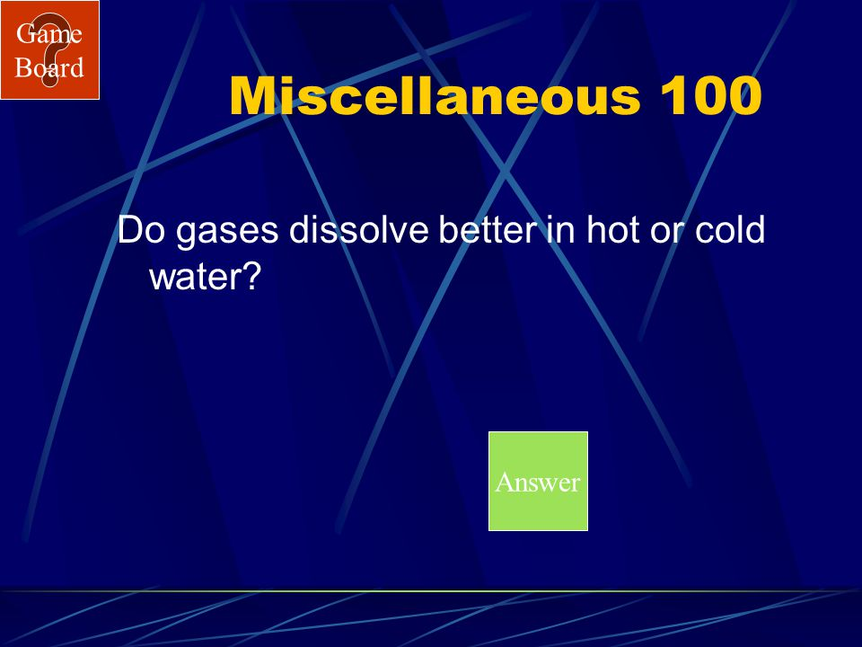 Game Board Chemical Tests 500A What is carbon dioxide?