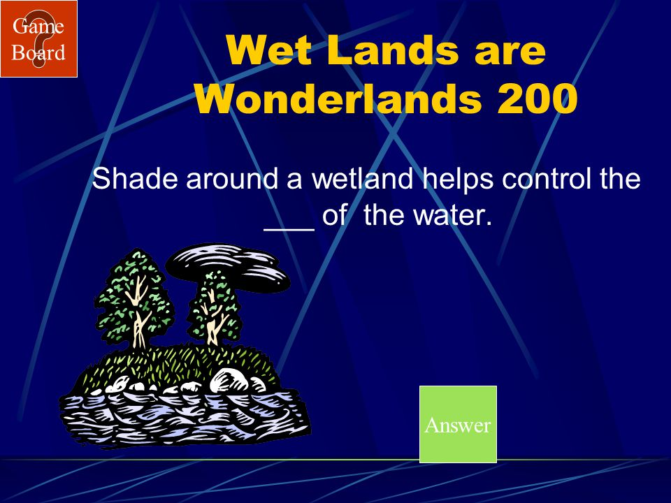 Game Board Wet Lands are Wonderlands100A What are riparian areas?