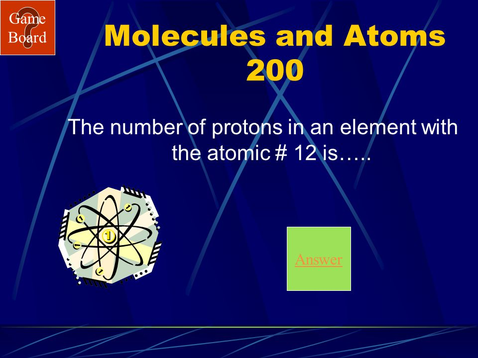 Game Board Molecules and Atoms 100 A What is C?