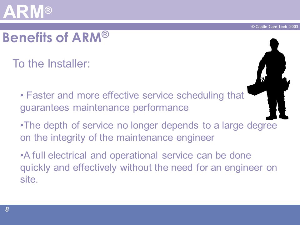 © Castle Care-Tech 2003 9 Benefits of ARM ® ARM ® Renews his confidence in his security system.
