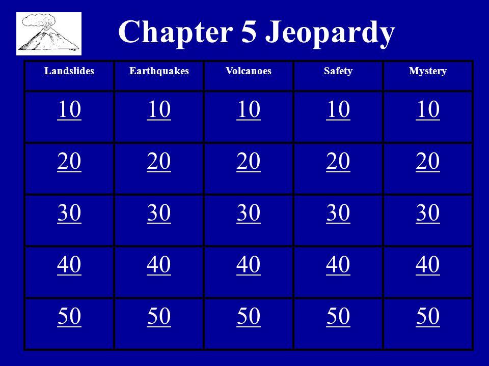 Chapter 5 Jeopardy LandslidesEarthquakesVolcanoesSafetyMystery 10 20 30 40 50