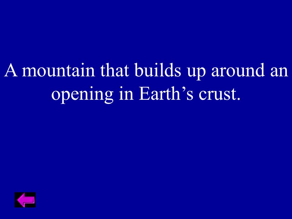 A mountain that builds up around an opening in Earth's crust.