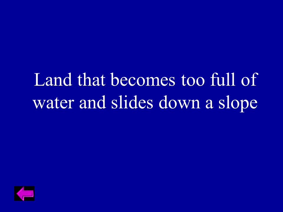 Land that becomes too full of water and slides down a slope
