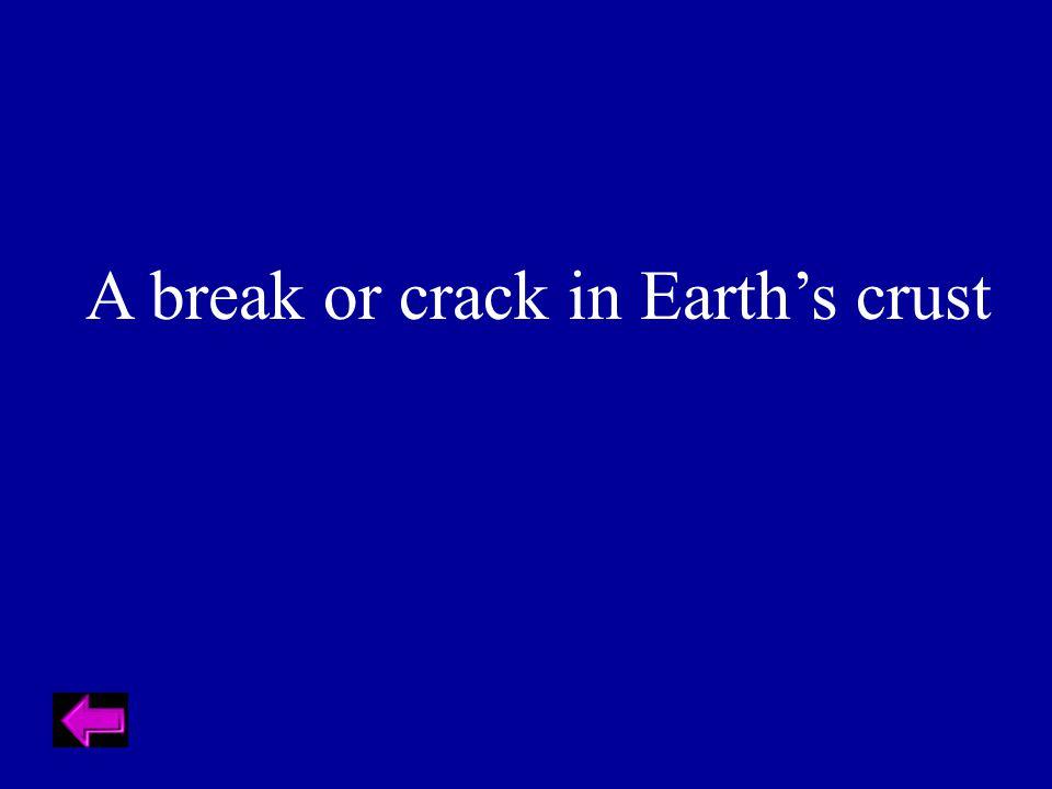 A break or crack in Earth's crust