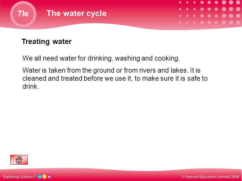 7Ie The water cycle Treating water We all need water for drinking, washing and cooking. Water is taken from the ground or from rivers and lakes. It is