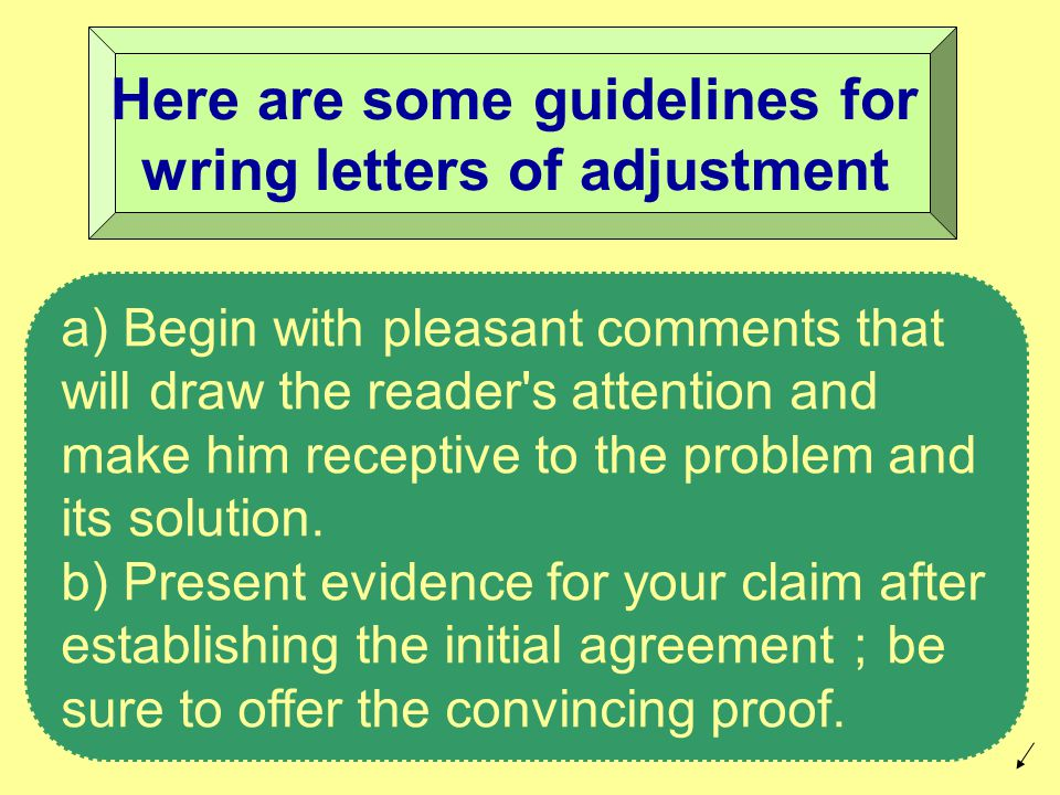 a) Begin with pleasant comments that will draw the reader s attention and make him receptive to the problem and its solution.