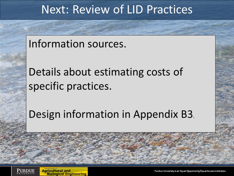 Next: Review of LID Practices Information sources.