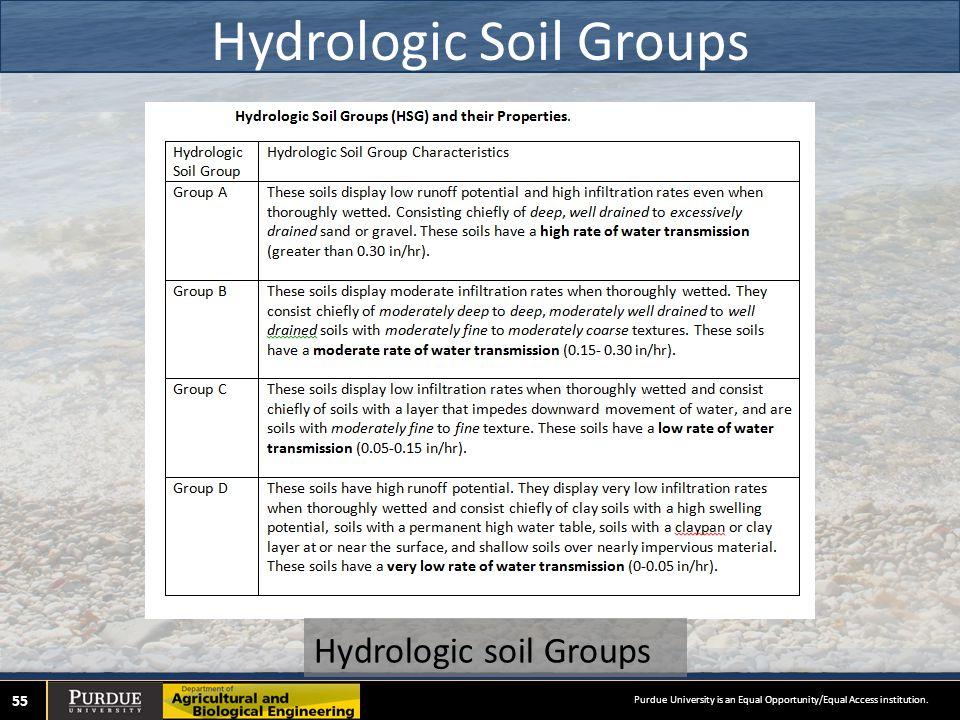 Hydrologic Soil Groups 55 Hydrologic soil Groups Purdue University is an Equal Opportunity/Equal Access institution.