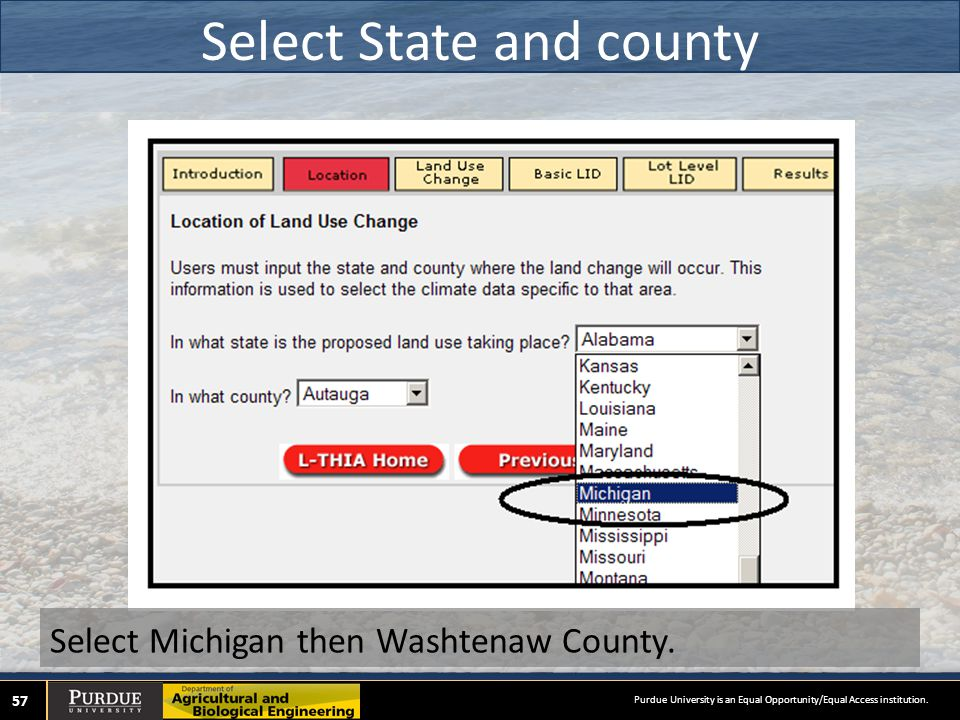 Select State and county 57 Select Michigan then Washtenaw County.
