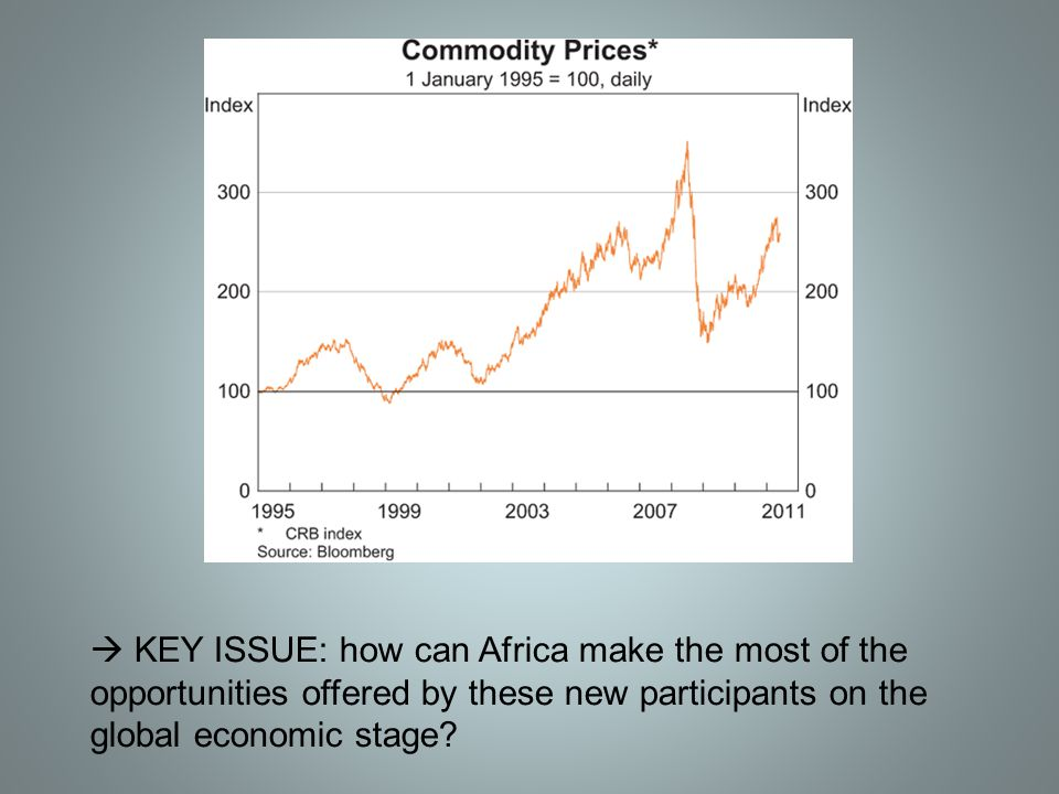  KEY ISSUE: how can Africa make the most of the opportunities offered by these new participants on the global economic stage?