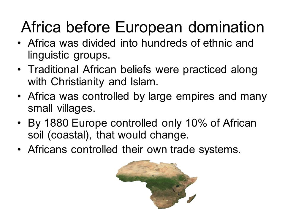 Africa before European domination Africa was divided into hundreds of ethnic and linguistic groups.
