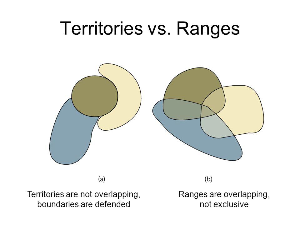 Territories vs. Ranges Territories are not overlapping, boundaries are defended Ranges are overlapping, not exclusive