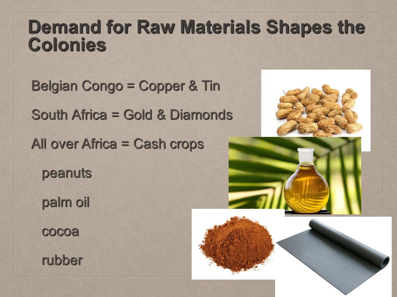 Demand for Raw Materials Shapes the Colonies Belgian Congo = Copper & Tin South Africa = Gold & Diamonds All over Africa = Cash crops peanuts palm oil