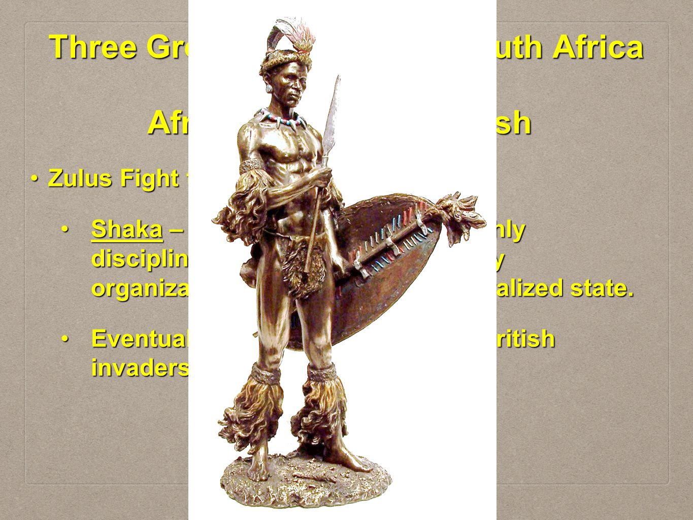 Three Groups Clash Over South Africa Africans, Dutch & British Zulus Fight the BritishZulus Fight the British Shaka – Zulu Chief – who used highly dis